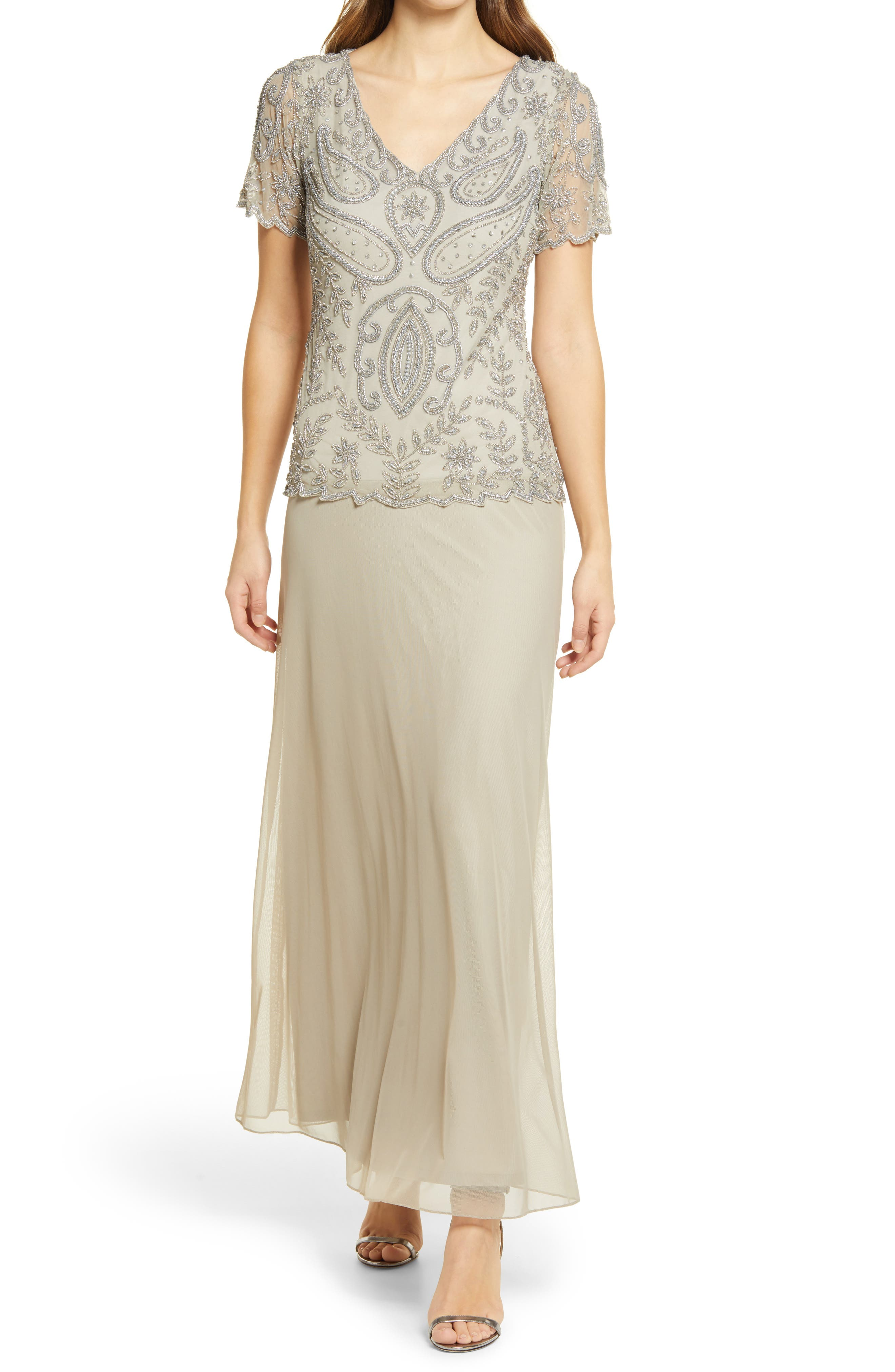 1920s Formal Dresses & Evening Gowns Guide Womens Pisarro Nights Beaded Mock Two-Piece Gown Size 16 - Metallic $228.00 AT vintagedancer.com