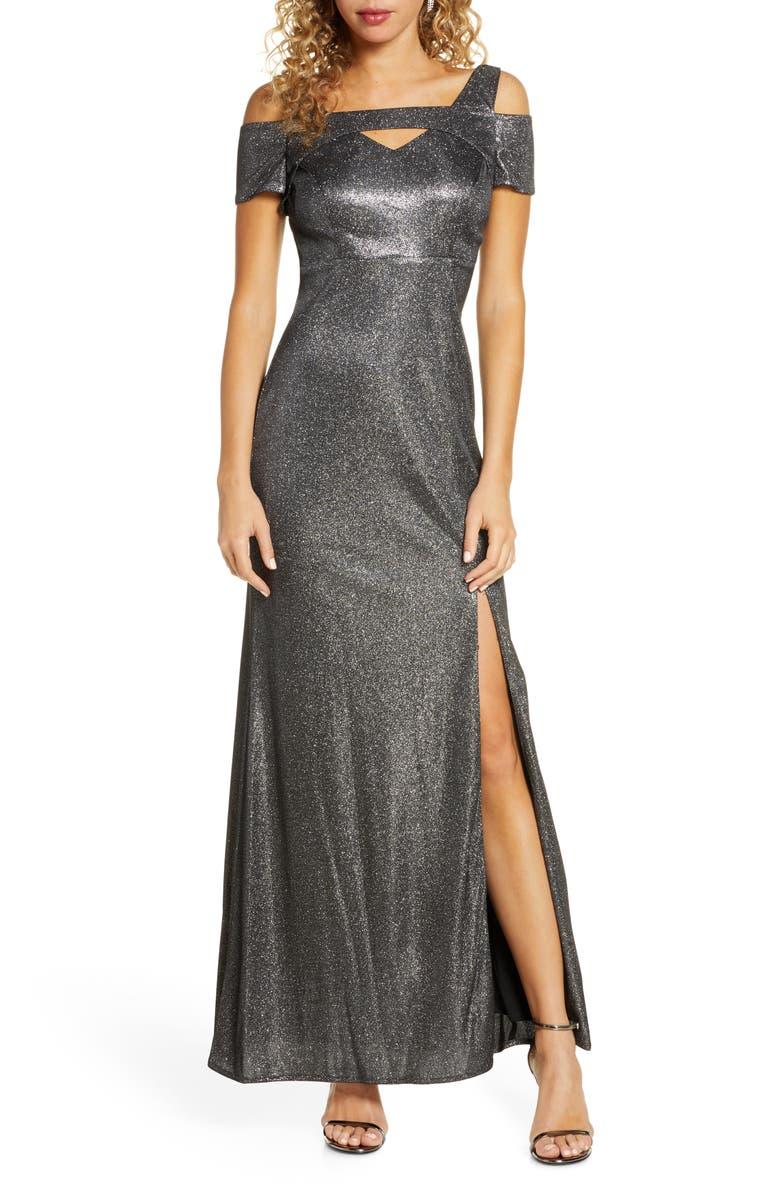 MORGAN & CO. Cold Shoulder Shimmer Gown, Main, color, SILVER
