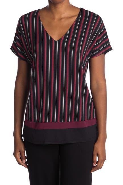 Image of Donna Karan Striped Short Sleeve Pajama Top
