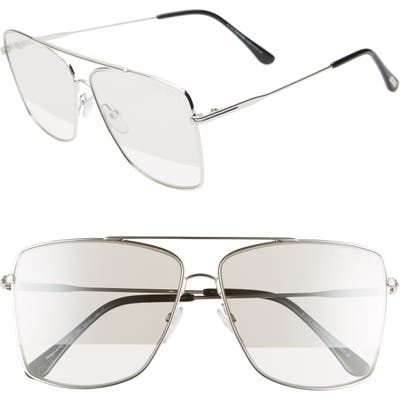 Tom Ford Magnus 60Mm Aviator Sunglasses - Rhodium/ Black/ Smoke/ Silver