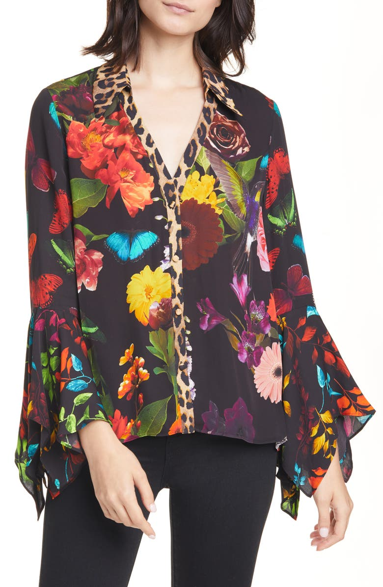 ALICE + OLIVIA Randa Mix Pattern Trumpet Sleeve Blouse, Main, color, MD GARDEN FLORAL/ COMBO
