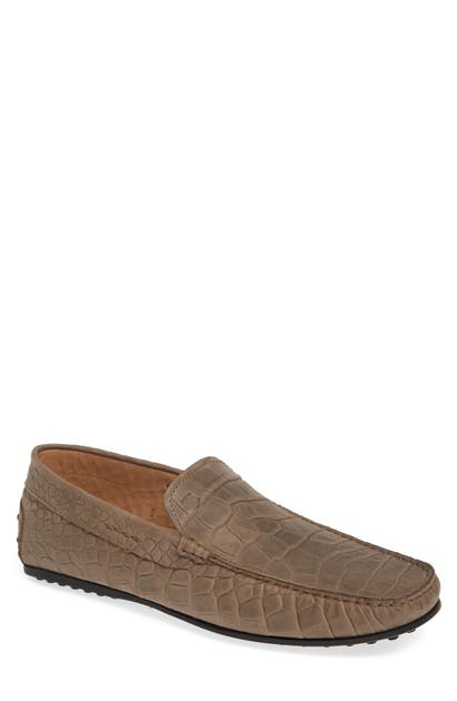 Tod's Pantofola City Driving Shoe In Torba / Printed Croc/ Beige