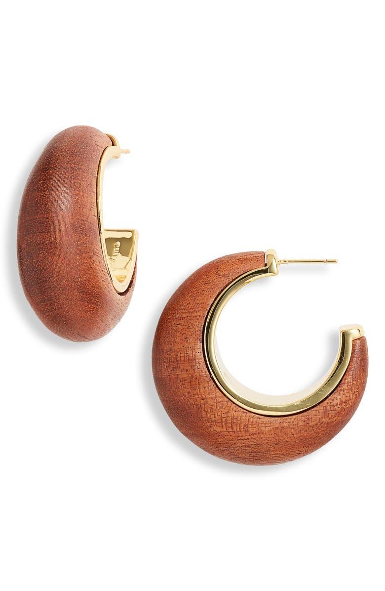 CULT GAIA Moon Wood Hoop Earrings, Main, color, MAHOGANY