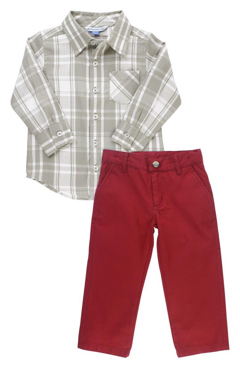 RUGGEDBUTTS Plaid Shirt & Chinos Set, Main, color, GREY