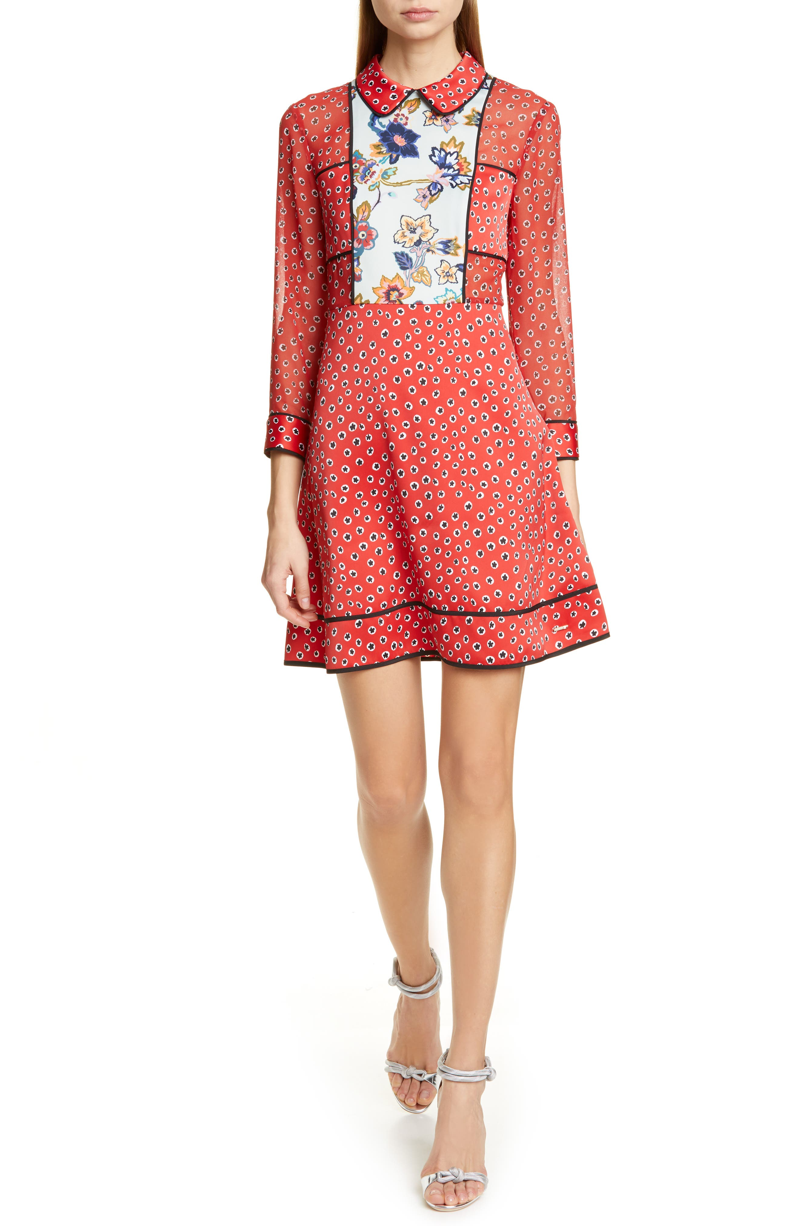 Ted Baker London Colour By Numbers Valoria Long Sleeve Minidress, Red