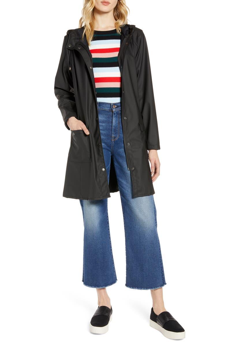 HALOGEN<SUP>®</SUP> Waterproof Hooded Rain Jacket, Main, color, BLACK