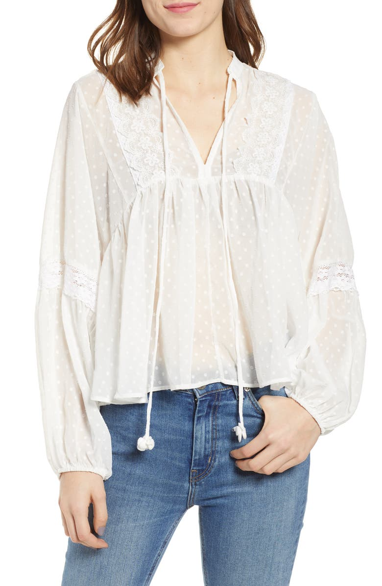 BISHOP + YOUNG Swiss Dot Blouse, Main, color, WHITE
