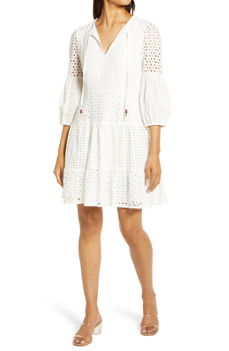 VINCE CAMUTO Balloon Sleeve Cotton Eyelet Dress, Main, color, IVORY
