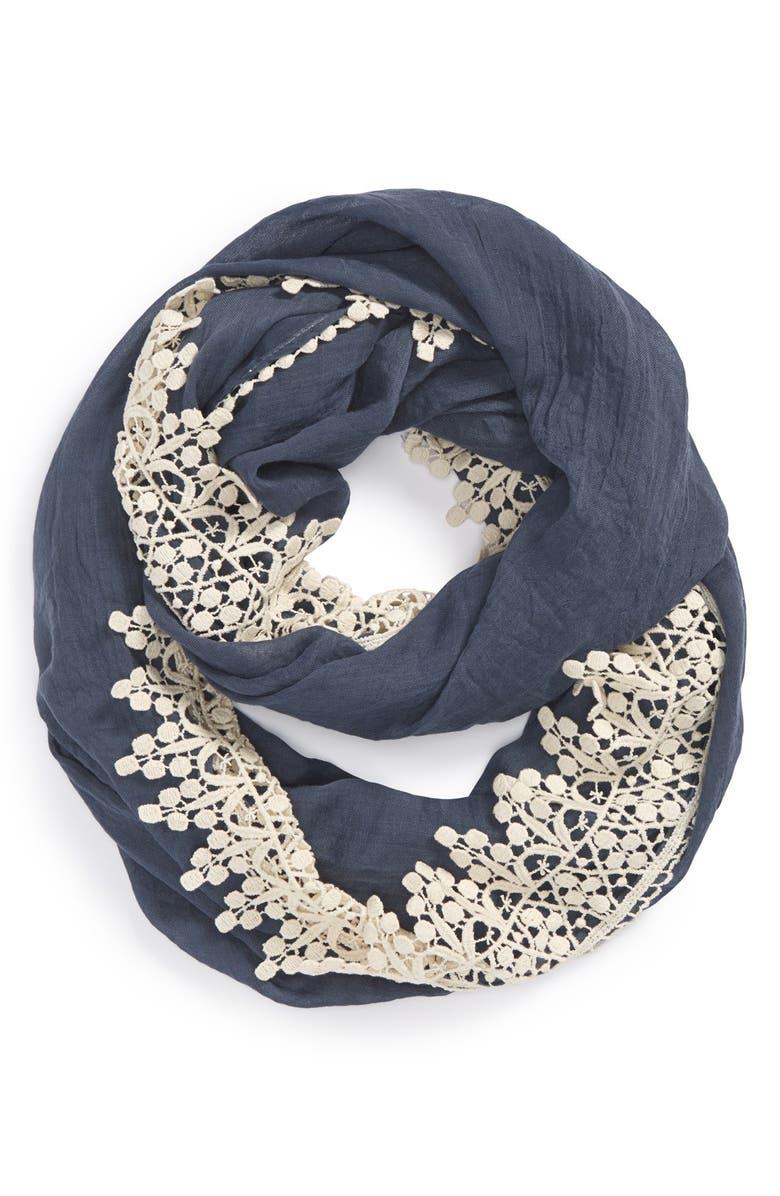 EVELYN K Crochet Infinity Scarf, Main, color, 400