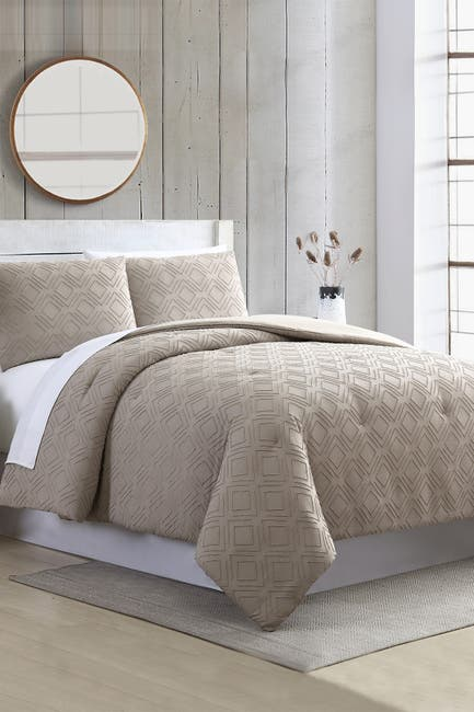 Image of Modern Threads 3-Piece Clipped Jacquard Comforter Set - Ethos Taupe - Queen