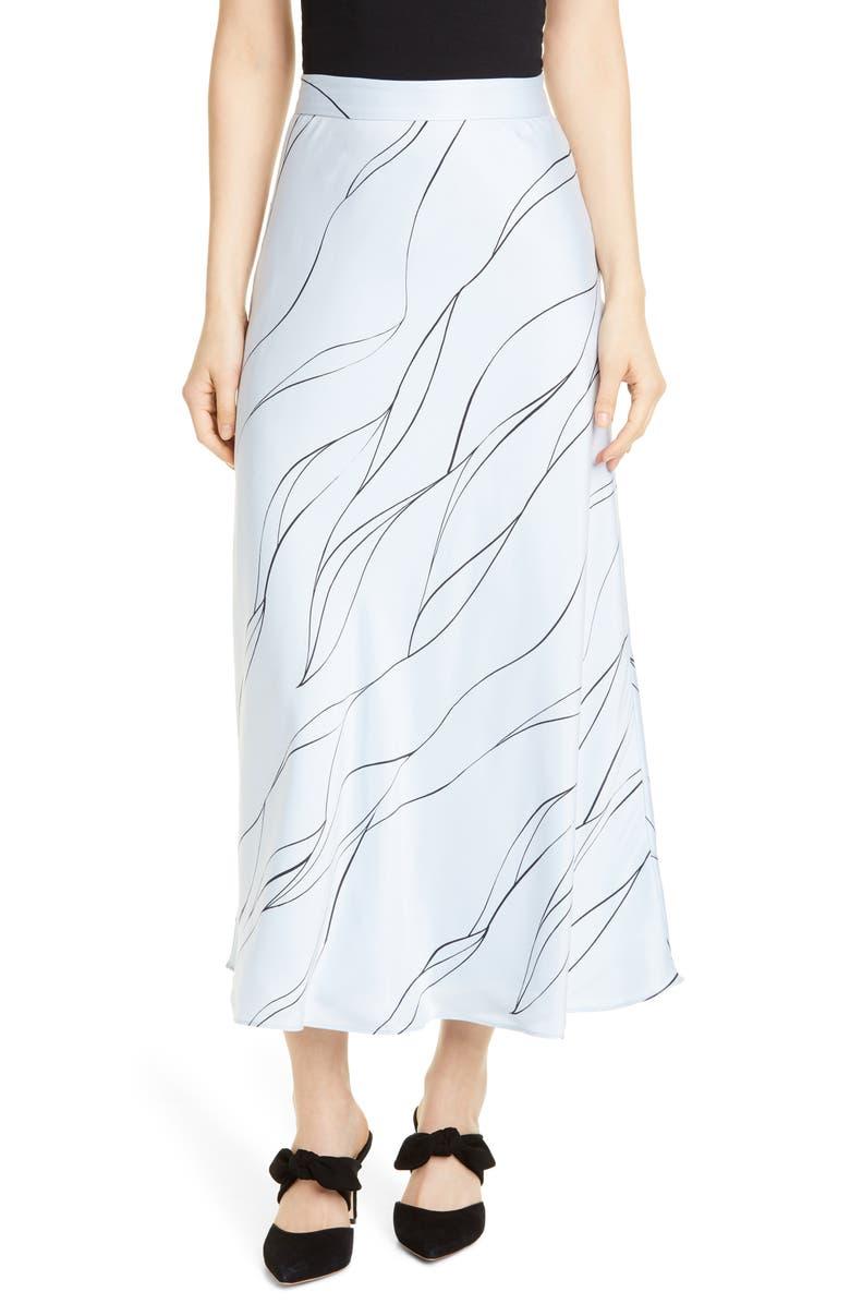 EQUIPMENT Iva Silk Blend Midi Skirt, Main, color, BLUE AERE ECLPSE