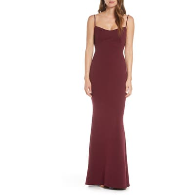 Katie May The Gina Backless Trumpet Gown, Red
