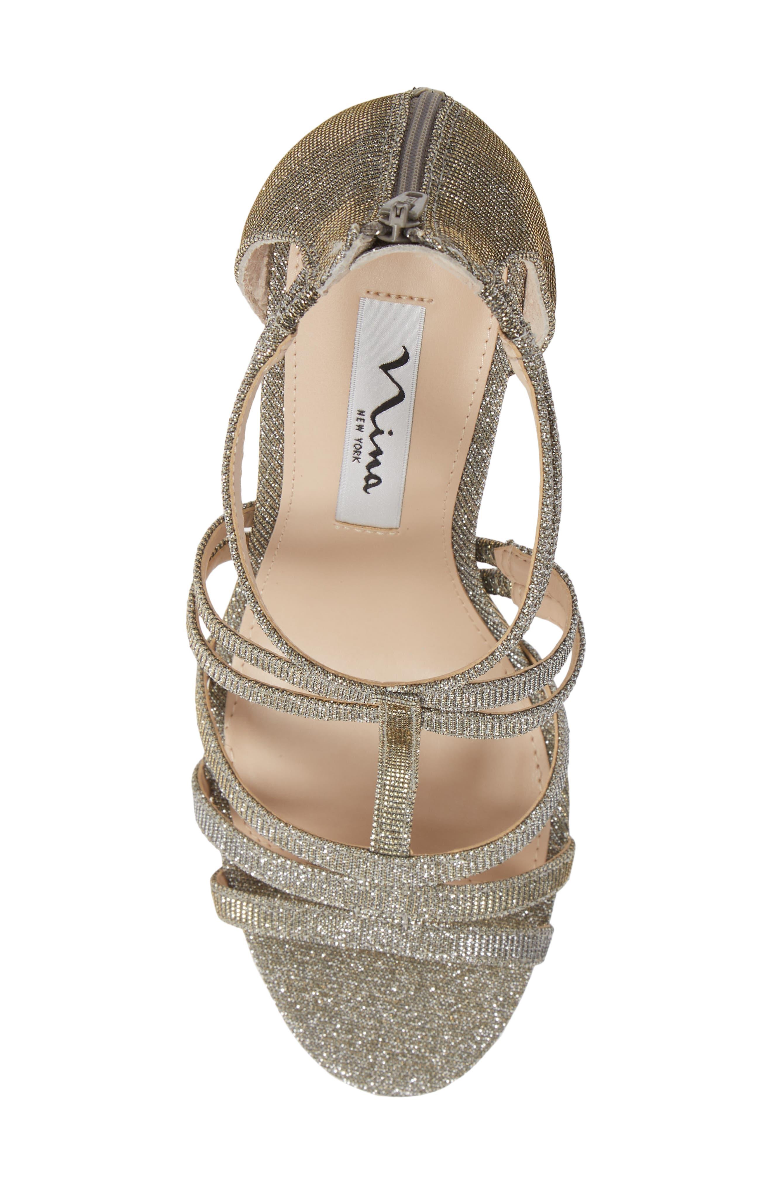 ,                             Carlie Ankle Strap Sandal,                             Alternate thumbnail 5, color,                             STEEL GLITTER FABRIC