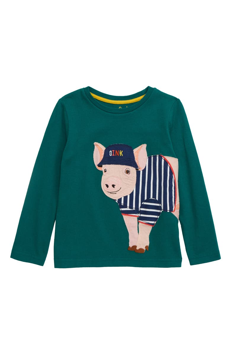 MINI BODEN British Animal Pig T-Shirt, Main, color, BOTTLE GREEN