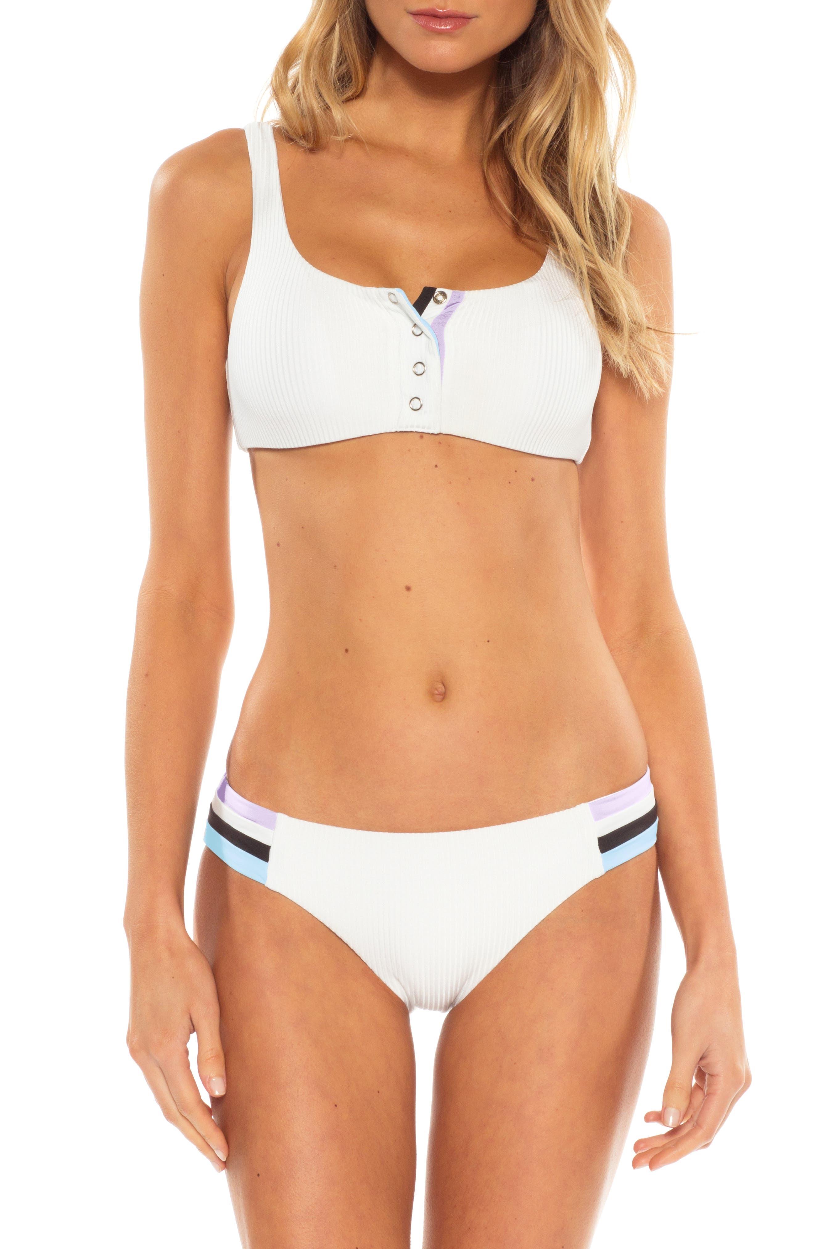 ,                             Refined Ribbed Banded Bikini Top,                             Alternate thumbnail 3, color,                             WHITE