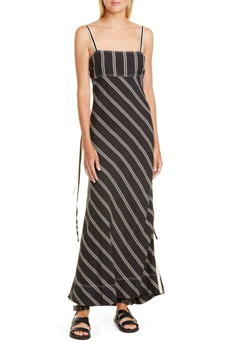LEE MATHEWS Madox Bias Stripe Dress, Main, color, BLACK
