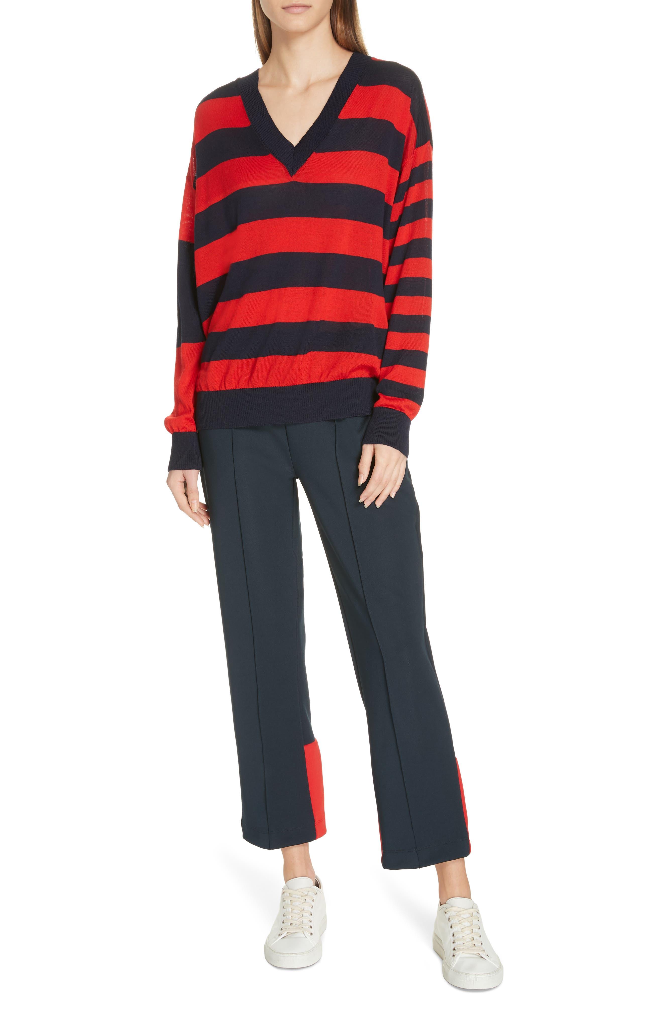 ,                             Stripe V-Neck Sweater,                             Alternate thumbnail 7, color,                             NAVY/ RED