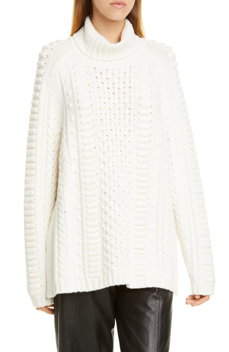 JASON WU Turtleneck Wool Blend Sweater, Main, color, ALABASTER