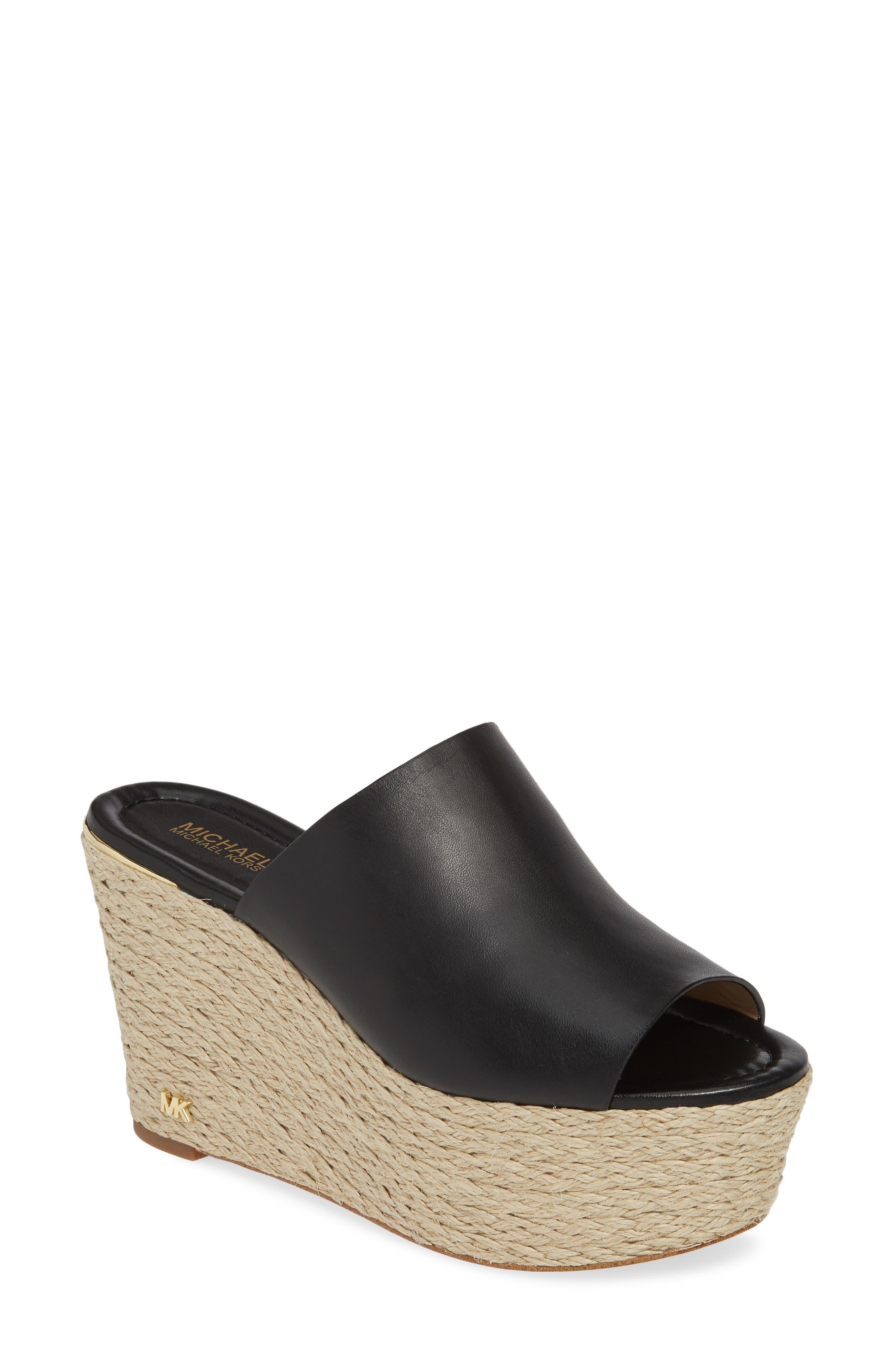 Cunningham Espadrille Wedge Slide Sandal, Main, color, BLACK VACHETTA LEATHER