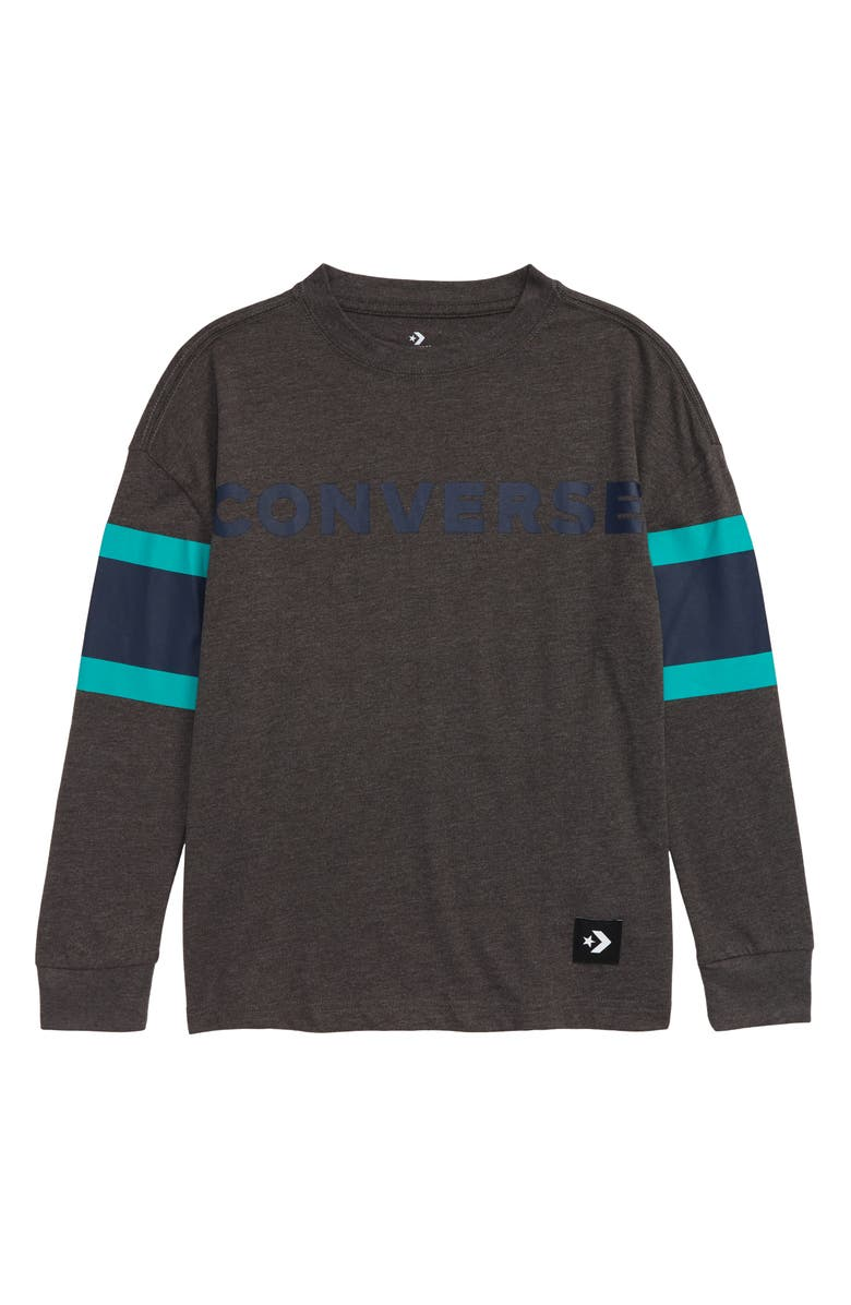 CONVERSE Football Jersey Long Sleeve T-Shirt, Main, color, CHARCOAL HEATHER