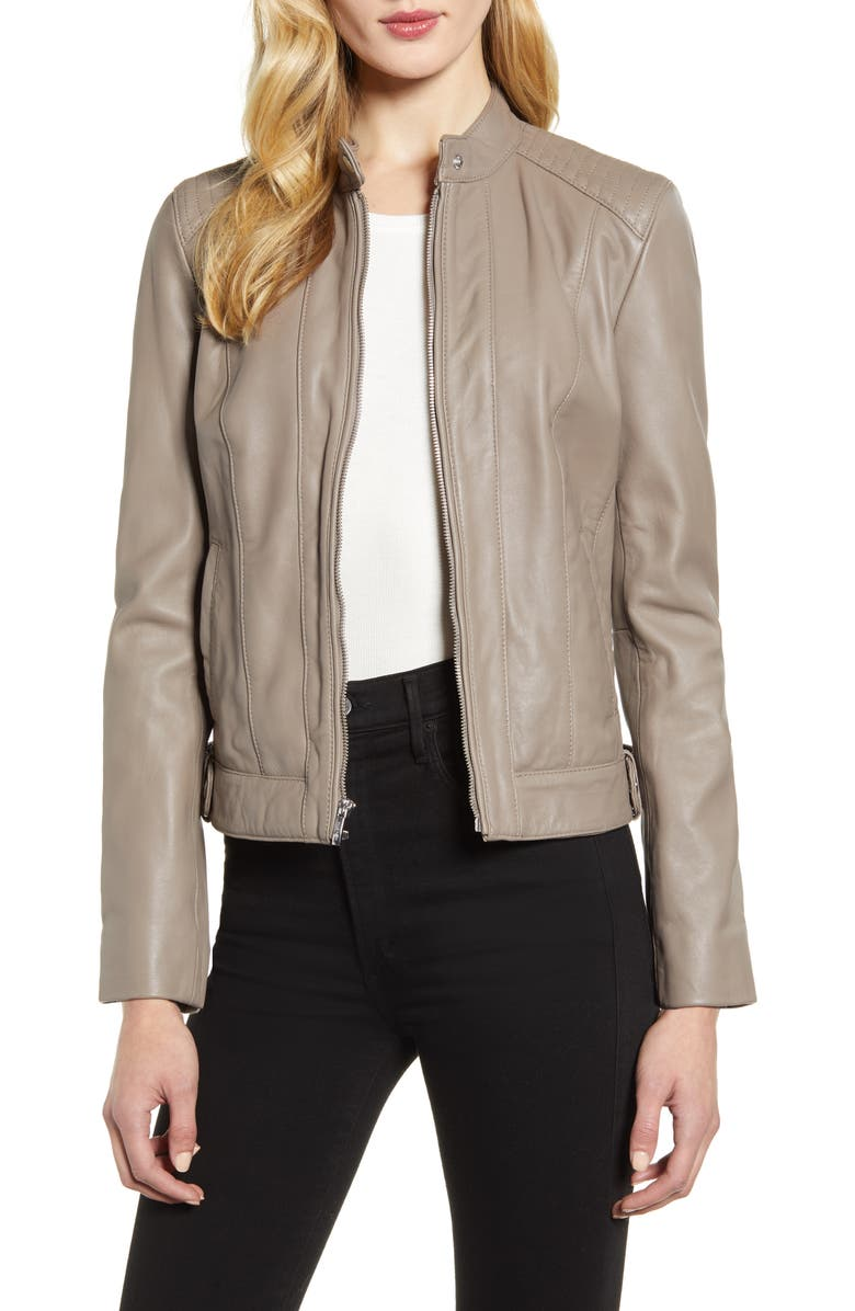 COLE HAAN Leather Moto Jacket, Main, color, CEMENT