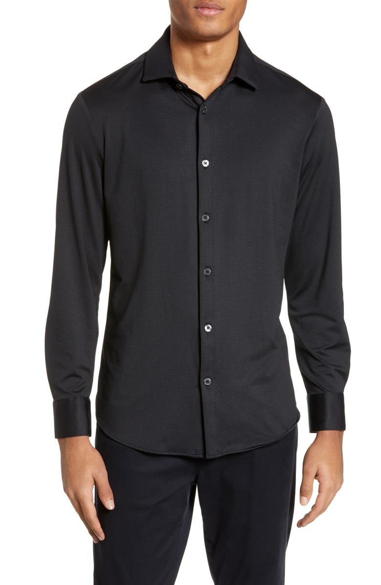 MIZZEN+MAIN Cole Trim Fit Performance Shirt, Main, color, BLACK