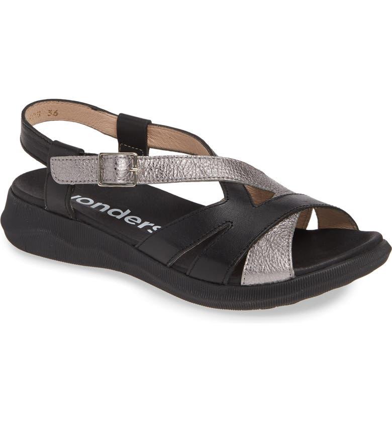 WONDERS C-5603 Sandal, Main, color, NEGRO/ WASH PLOMO LEATHER