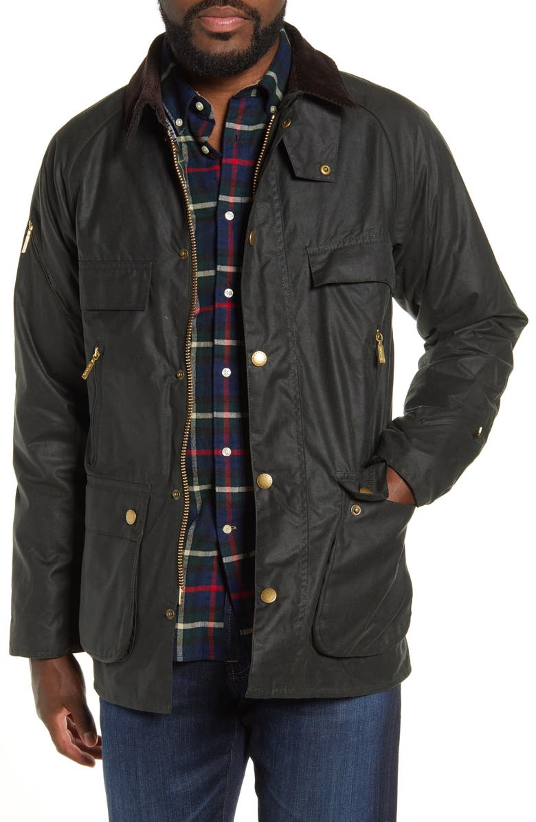 BARBOUR Icon Bedale Waxed Cotton Jacket, Main, color, SAGE