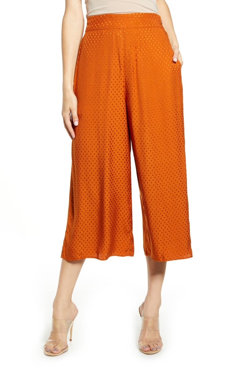 LEITH Crop Wide Leg Pants, Main, color, RUST UMBER