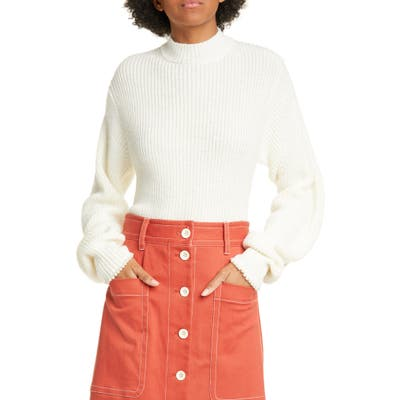 Sea Imitation Pearl Cuff Wool Blend Sweater, Ivory