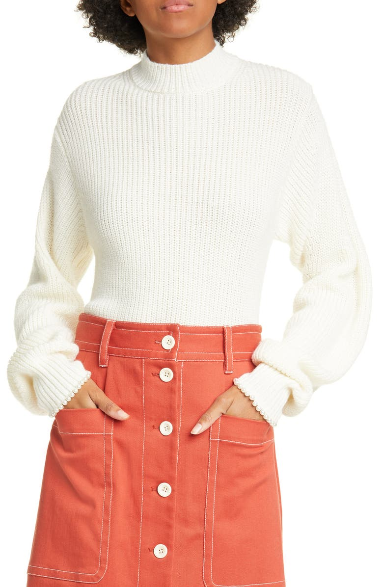 SEA Imitation Pearl Cuff Wool Blend Sweater, Main, color, CREAM