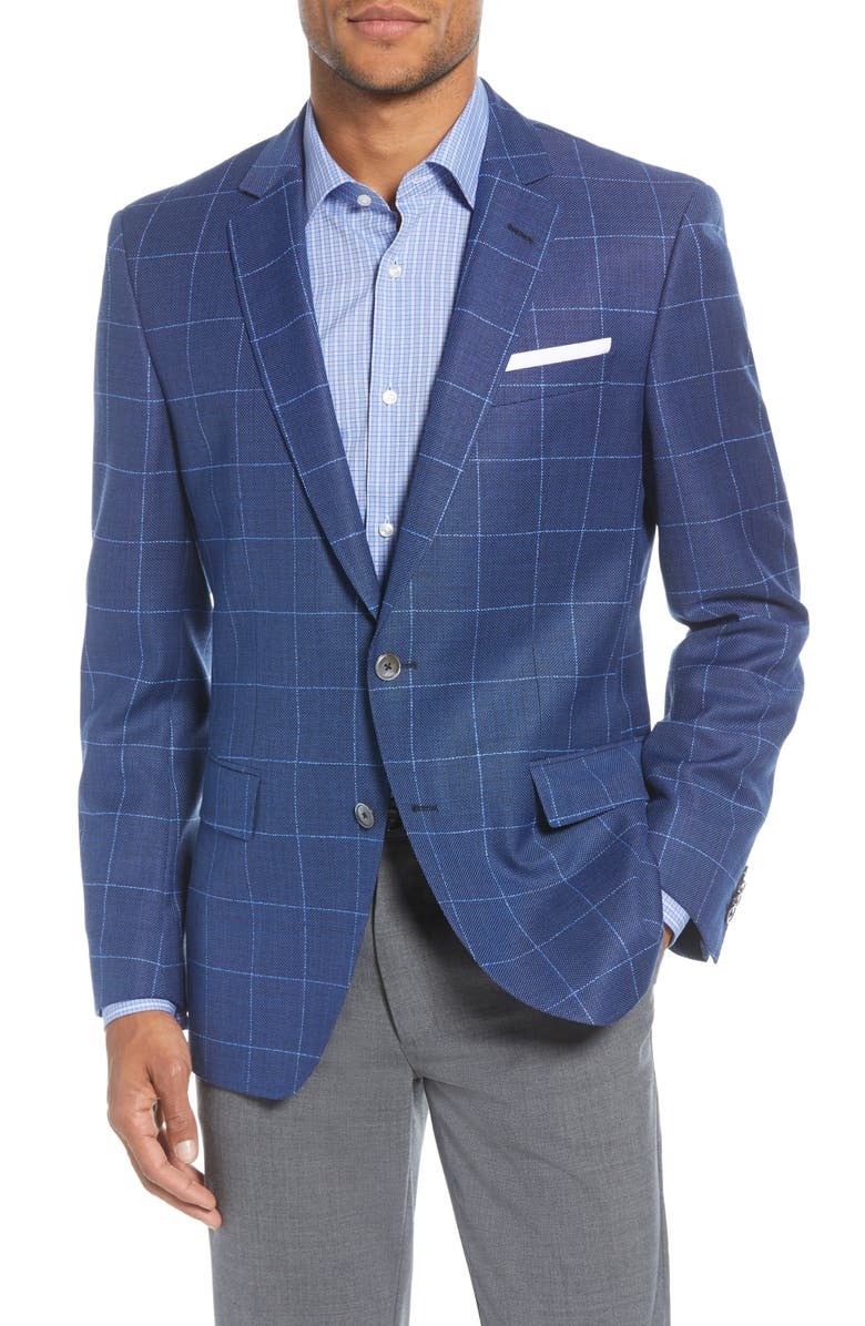 BOSS Hutsons Trim Fit Windowpane Wool Sport Coat, Main, color, BLUE