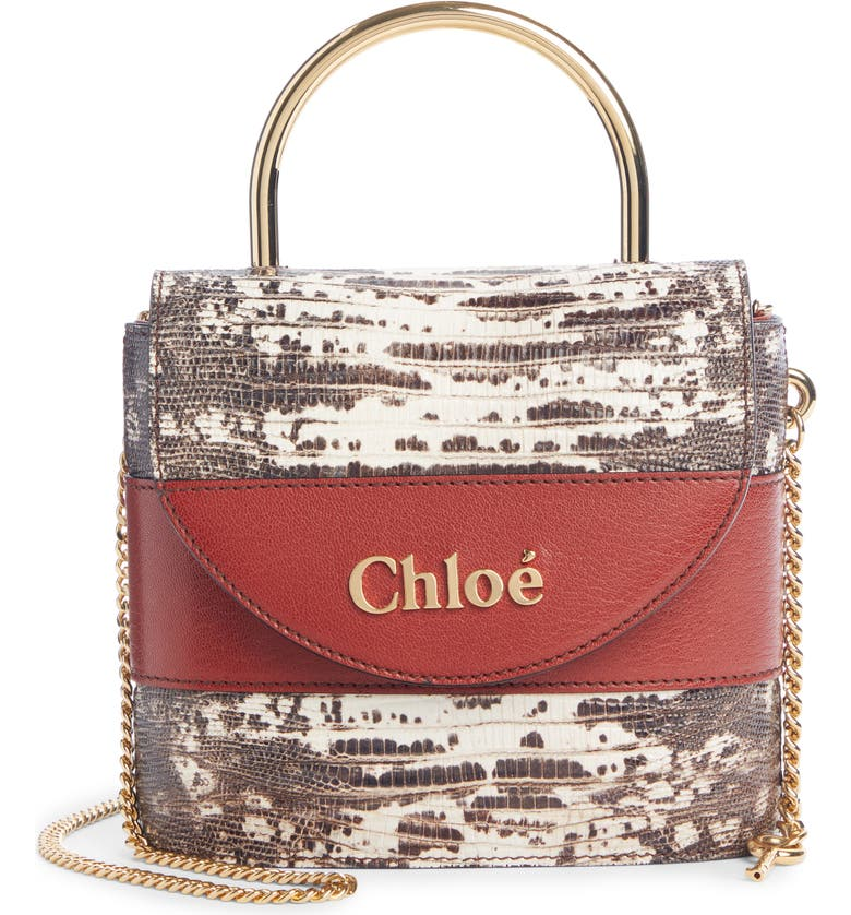 CHLOÉ Aby Lock Lizard Embossed Leather Shoulder Bag, Main, color, SEPIA BROWN