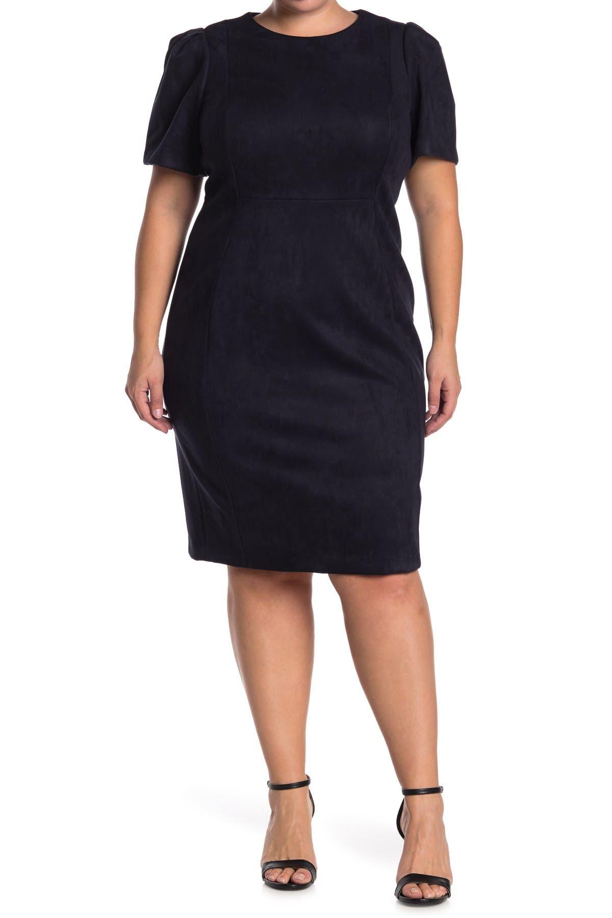 Image of Calvin Klein Faux Suede Short Sleeve Sheath Dress