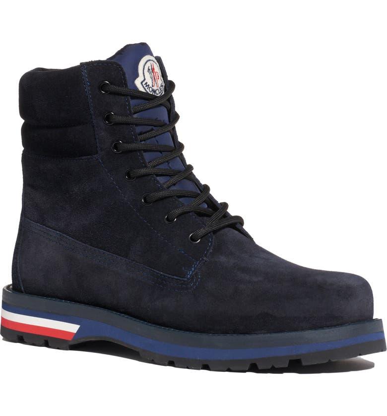 MONCLER New Vancouver Plain Toe Boot, Main, color, BLACK/ BLUE