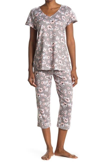Image of Anne Klein Floral Print T-Shirt & Capri Pants 2-Piece Pajama Set