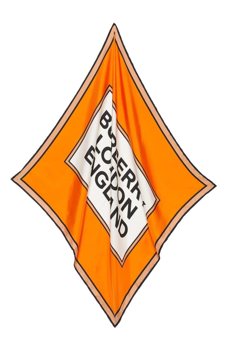 BURBERRY Logo Silk Scarf, Main, color, ORANGE