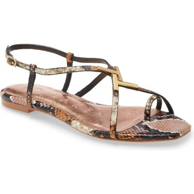 Ted Baker London Lerinas Snake Embossed Sandal, Pink