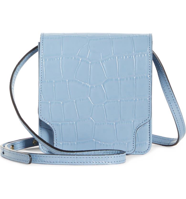 MARGE SHERWOOD Pump Slim Leather Convertible Crossbody Belt Bag, Main, color, SKY BLUE CROC