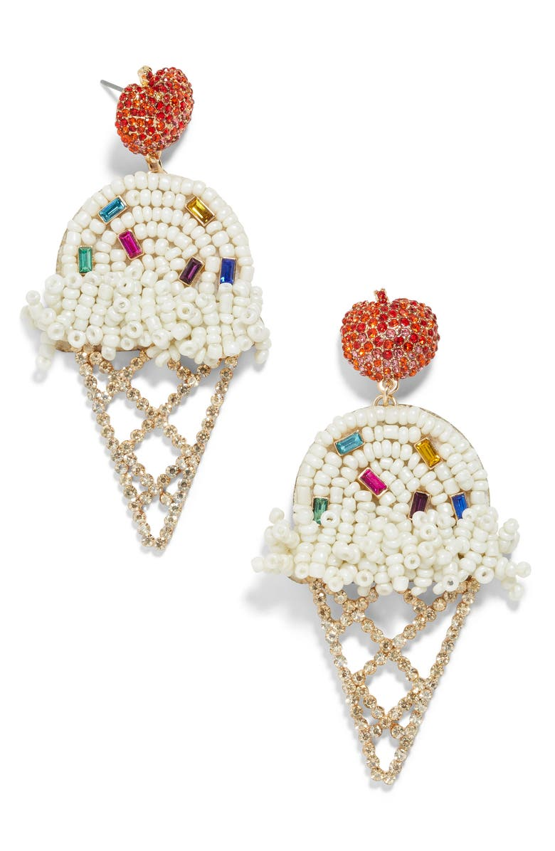 BAUBLEBAR Beaded Ice Cream Cone Earrings, Main, color, WHITE MULTI