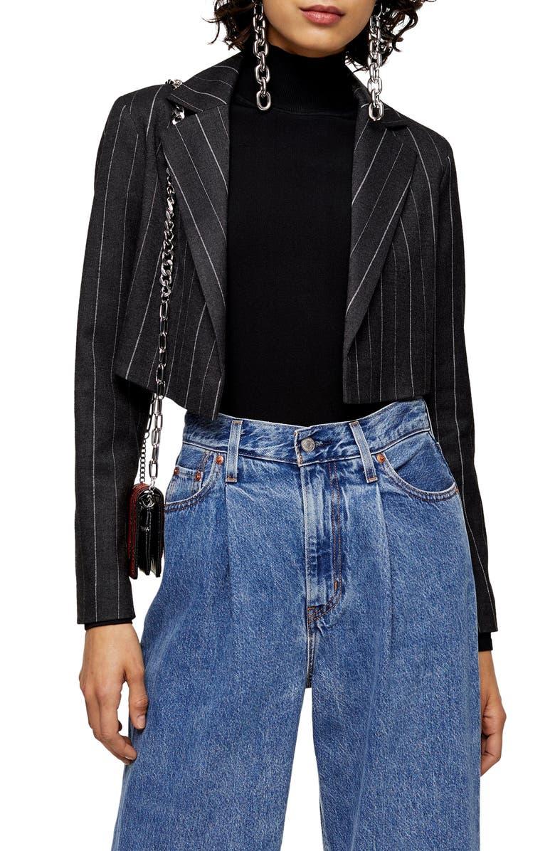 TOPSHOP Pinstripe Crop Blazer, Main, color, GREY