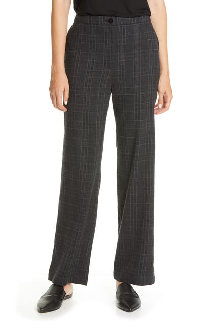 Image of Eileen Fisher Plaid Straight Leg Pants