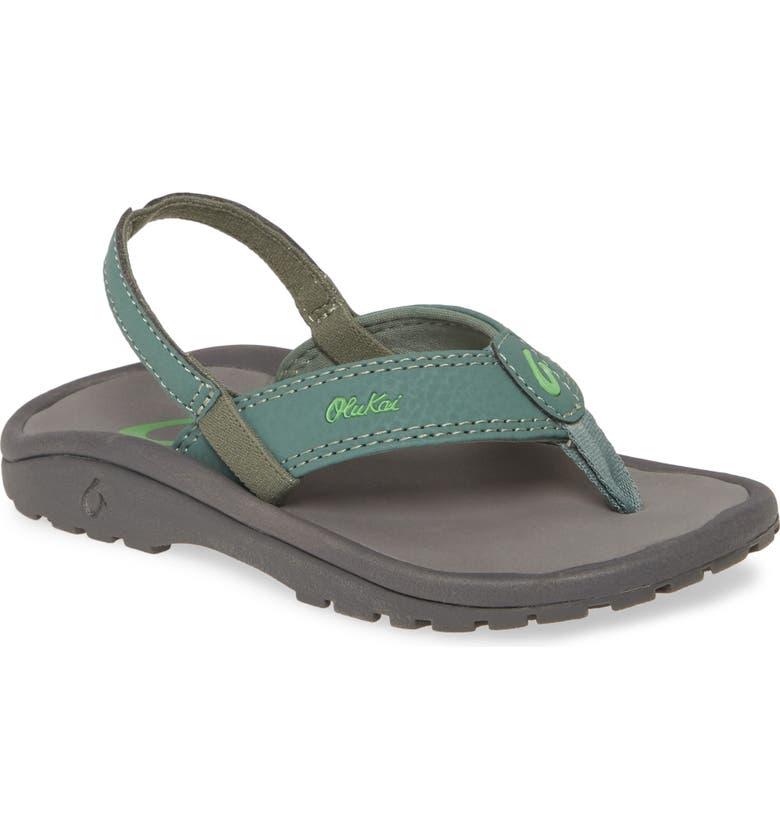 OLUKAI 'Ohana' Sandal, Main, color, SILVER PINE / CHARCOAL