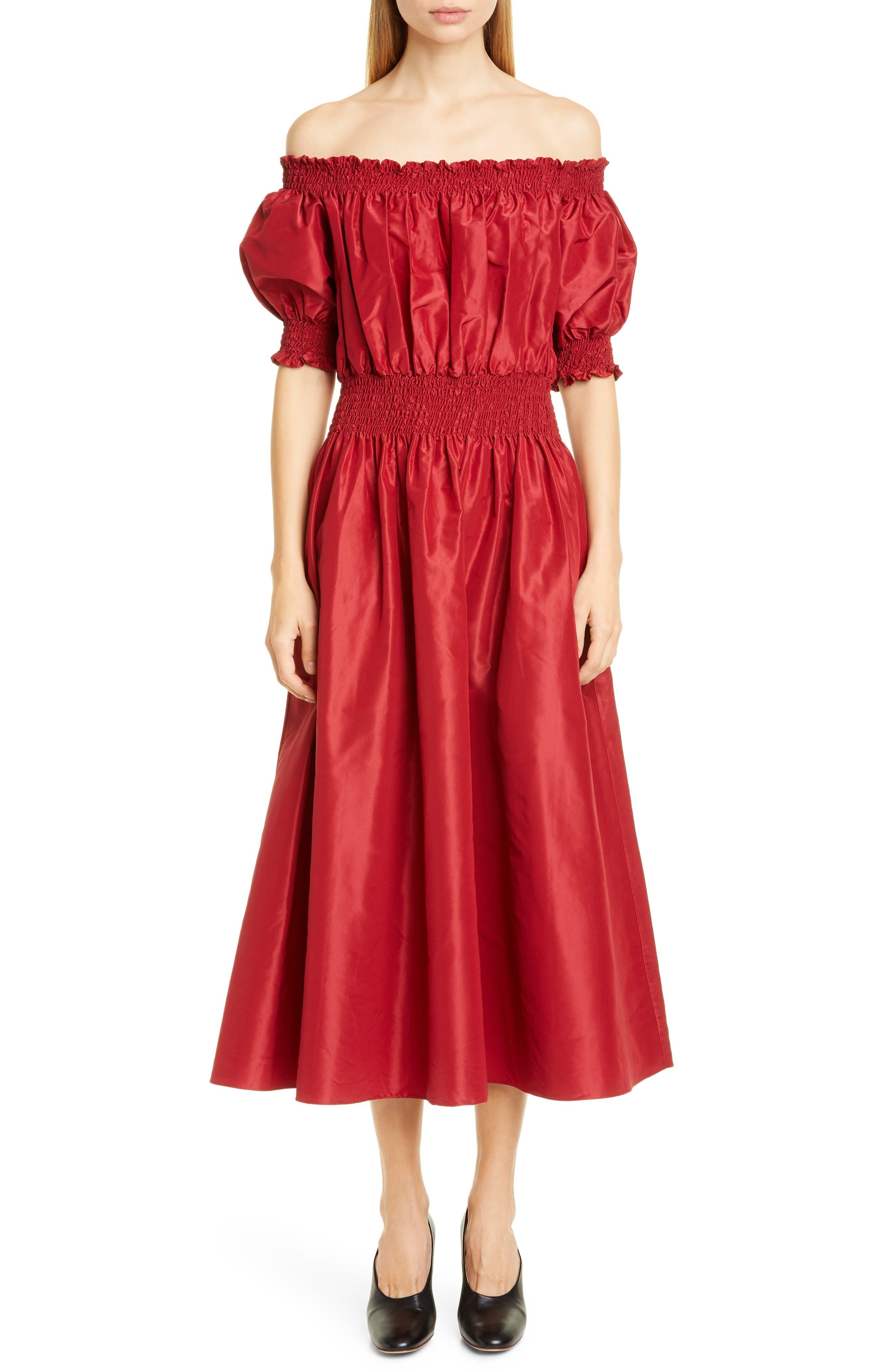 Adam Lippes Off The Shoulder Silk Taffeta Midi Dress, Red