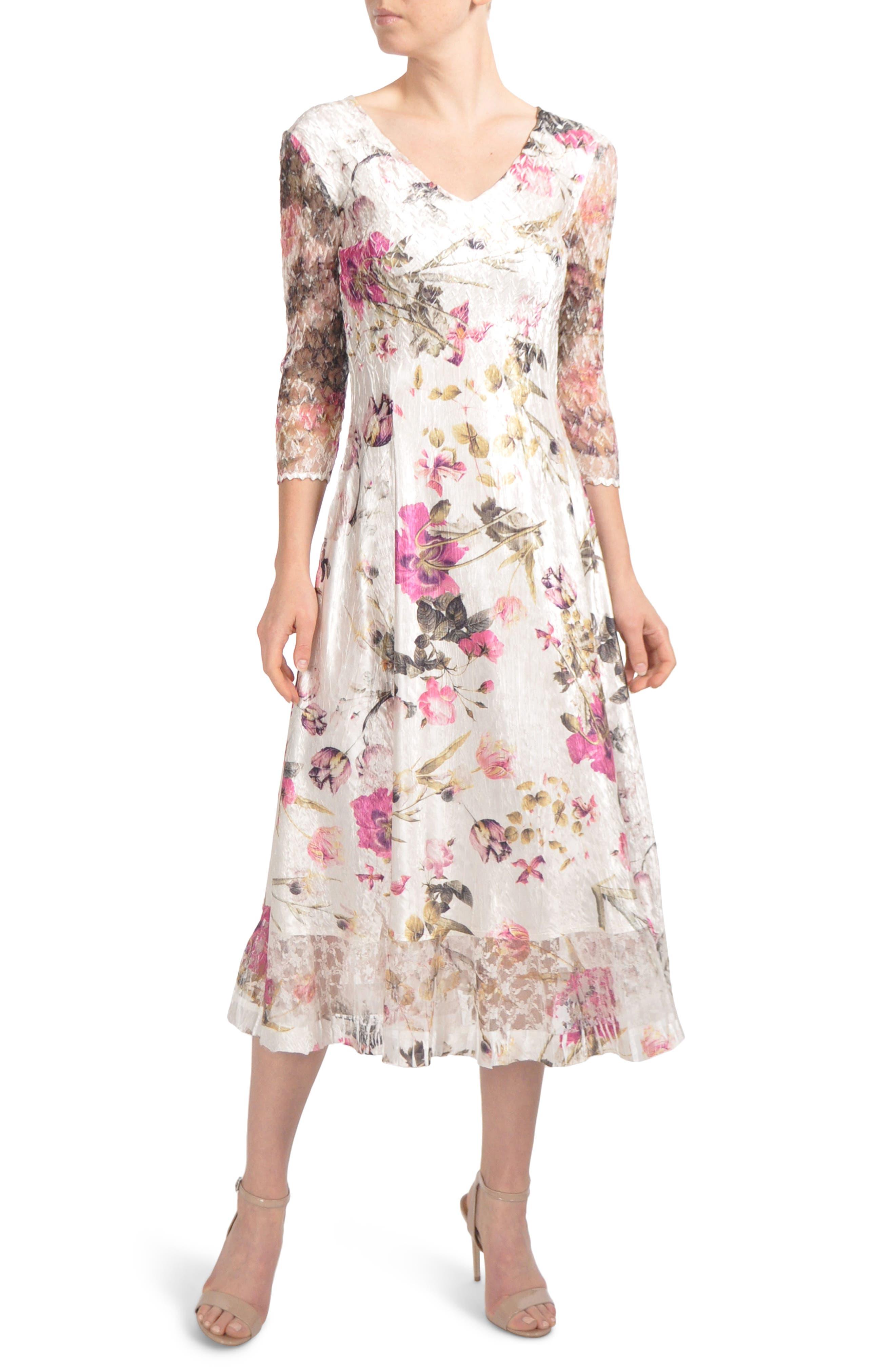 Petite Komarov Chiffon & Charmeuse Dress, Beige
