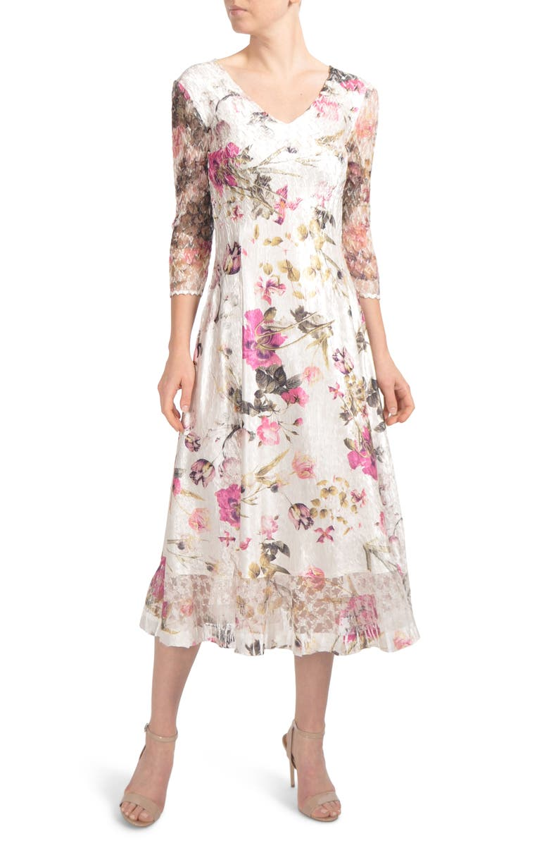 KOMAROV Chiffon & Charmeuse Dress, Main, color, ENGLISH BLOOM