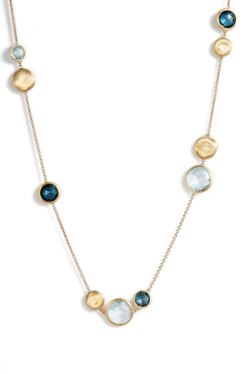 MARCO BICEGO Jaipur Semiprecious Stone Necklace, Main, color, YELLOW GOLD/ SWISS BLUE TOPAZ
