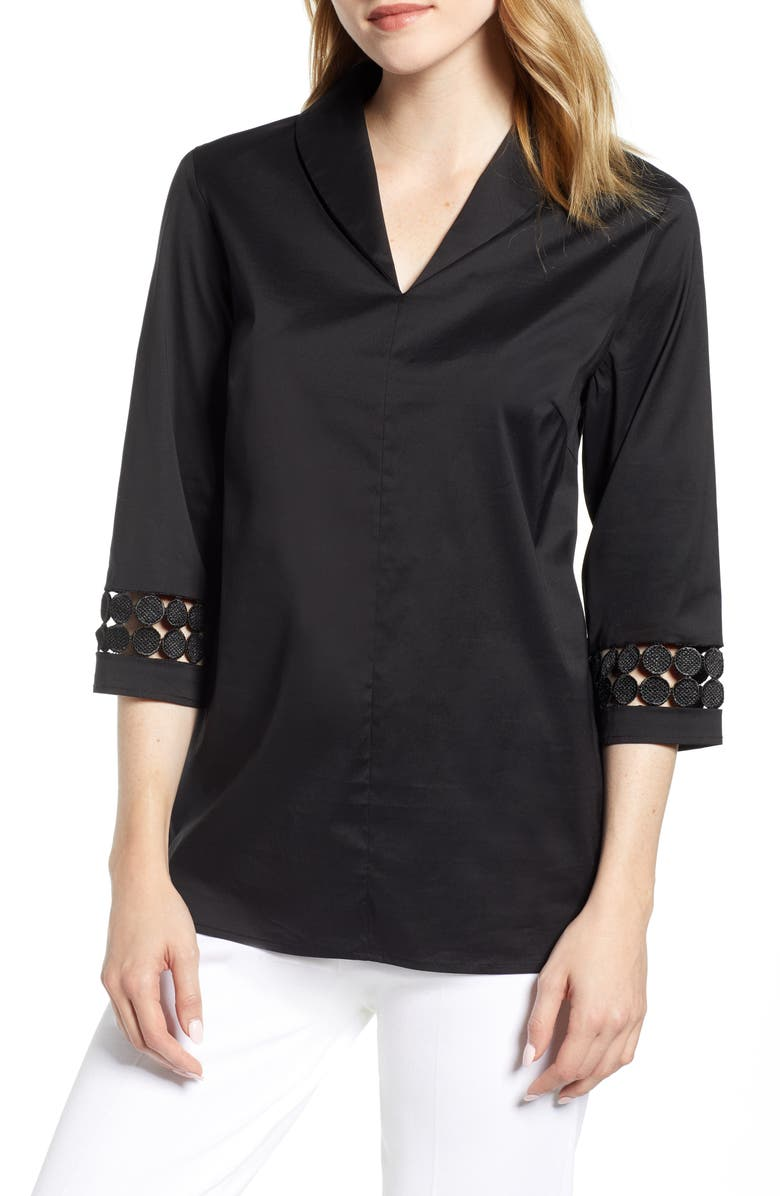 Ming Wang Lace Inset Top
