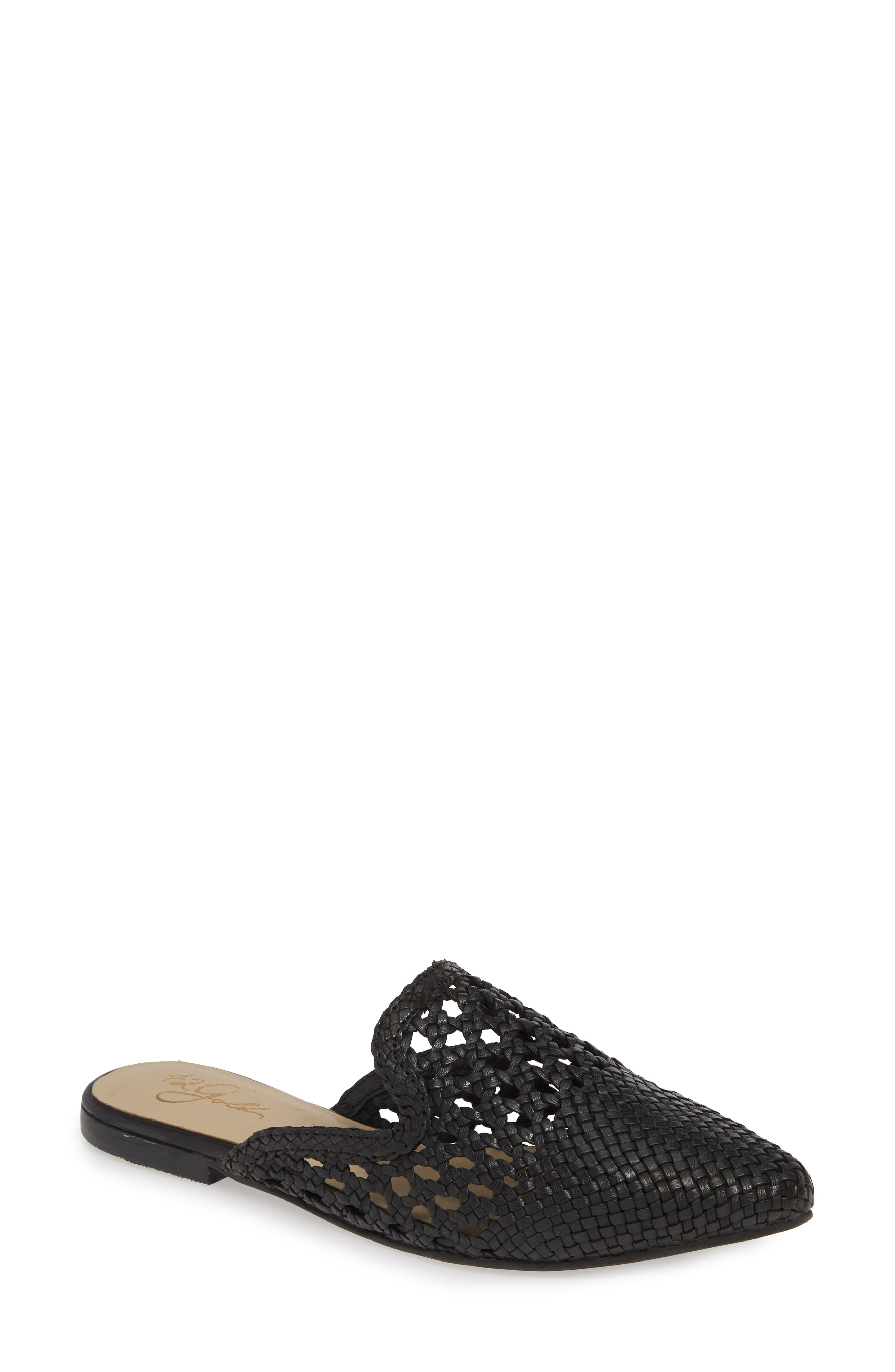 ,                             Corra Woven Loafer Mule,                             Main thumbnail 1, color,                             BLACK LEATHER