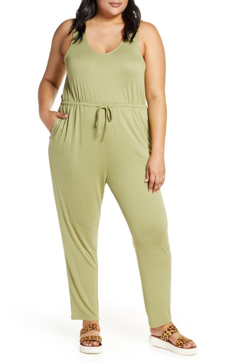 BP. Tie Waist Jumpsuit, Main, color, OLIVE EMERALD